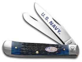 CASE XX U.S. Navy Jigged Navy Blue Bone Trapper Stainless