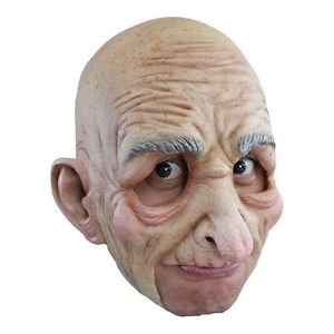 [Chinless Old Man Mask Old Geezer Latex Grandpa Halloween Costume Accessory Bald] (Old Man Halloween Mask)