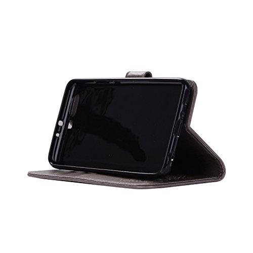 Flip pour exquis PU cas cuir magnétique gray fermeture protection Huawei de carte Hozor fente support en motifs relief de téléphone avec étui Wallet Plus avec P10 z7cwqpB