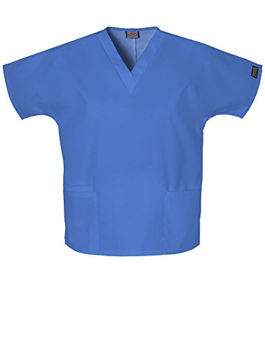 Cherokee Workwear Women's Solid V-neck Scrub Top (Cadet Blue, -