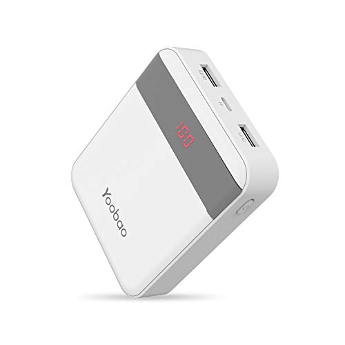 Power Bank Yoobao 10000mAh Small Portable Charger Powerbank External Cell Phone Battery Backup Pack (LED Display, Dual Output, Dual Input) Compatible Cellphone Smartphone Tablet - White