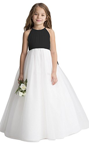 (fairy Girl Flower Girl Dress Tulle Chiffon Junior Bridesmaid Dresses for Wedding Party Pageant Aline Black)