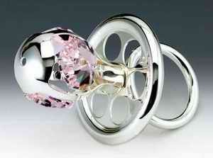 Chupete plata figura de adorno de cristal de Swarovski rosa ...