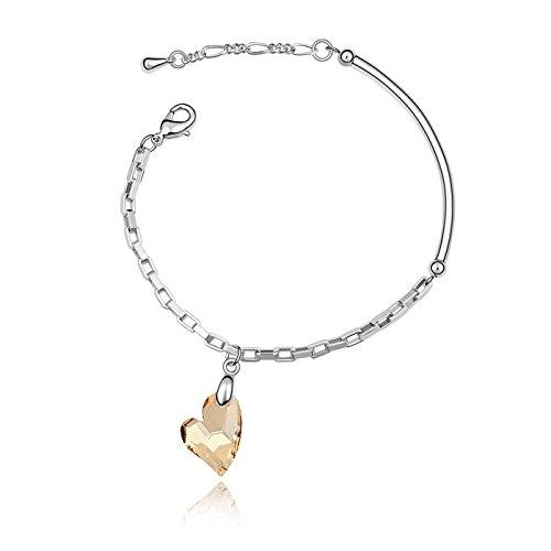 Zhahender Wonderful Jewelry Gift Extravagance Jewelry Swarovski Elements Crystal Heart-Shape Pendent Bracelet Bangle(Gold) ()