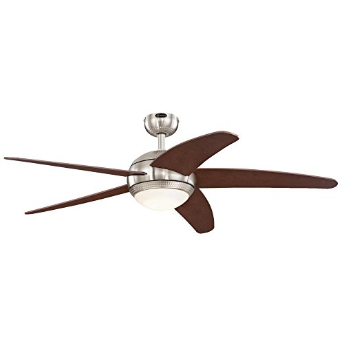 (Westinghouse Lighting 7206500 Bendan 52-inch Brushed Nickel with Hammered Accents Indoor Ceiling Fan, Dimmable LED Light Kit with Opal Frosted Glass)