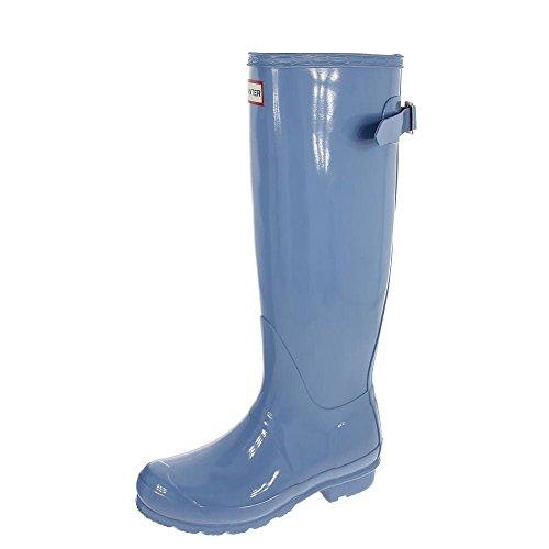 Womens Hunter Original Adjustable Back Gloss Winter Rainboots Wellington - Blue Sky - 10