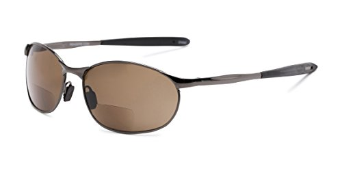 Readers.com | The Sean Bifocal Reading Sunglasses +1.50 Glossy Grey with Amber Sport & Wrap-Around Men