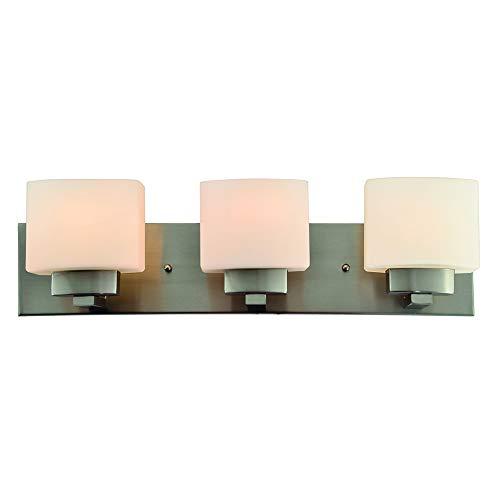 Design House 578005 Dove Creek Three Vanity Light, Satin Nickel, 3-Light, 3-Light