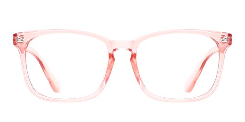 (TIJN Unisex Non-Prescription Eyeglasses Clear Lens Glasses for Women Pink Square Frame)
