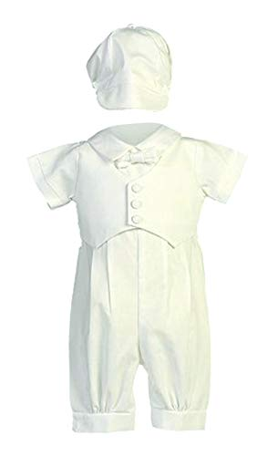 Cotton Poly Romper (Swea Pea & Lilli Boy's Poly Cotton Christening Baptism Romper with Pique Vest Lito-Tyler, White, 3-6 months)