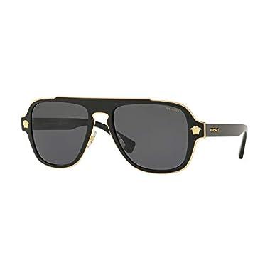 fc474a69bf93 Versace Mens Sunglasses Black Grey Metal - Polarized - 56mm