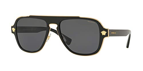 Versace Man Sunglasses, Black Lenses Metal Frame, 56mm (Best Designer Belts 2019)