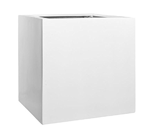"Elegant Modern White Square Indoor Outdoor Planter Pot – 24""H x 24""W x 24""L - Cube Shaped Fiberstone Flower Planters By Pottery Pots"