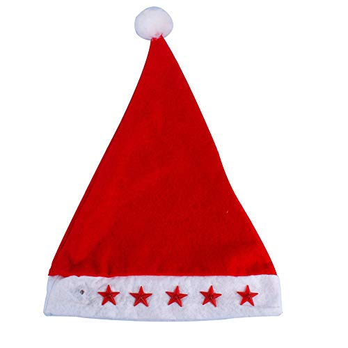(Glowing Christmas Hat Luminous Led Red Flashing Star Santa Hat For Adult Glowing Red Christmas Hat A Good Gift Christmas Hat Glowing Adult Hat)