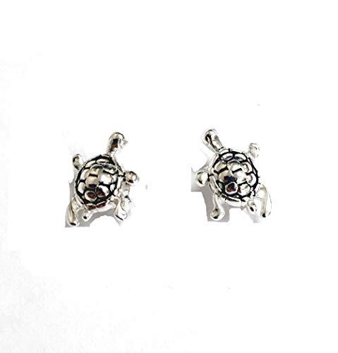 925 Solid Sterling Silver Tiny Turtle Stud Minimalist First Earrings – Mini Animal Ocean  / Sea Jewelry