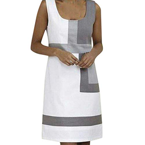 - Sunhusing Women's Simple Style Round Neck Sleeveless Tri-Color Stitching Patchwork Slim Mini Short Dress White