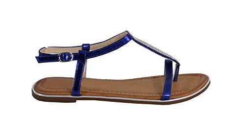 By Shoes Sandale Plate avec Strass - Femme Bleu ZmlyPYde
