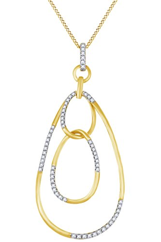 Round White Natural Diamond Open Oval Frame Pendant Necklace in 14k Solid Yellow Gold (0.29 Ct) (14k Frame Yg)