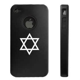 Apple iPhone 4 4S Black D6086 Aluminum & Silicone Case Cover Jewish Star of David Symbol