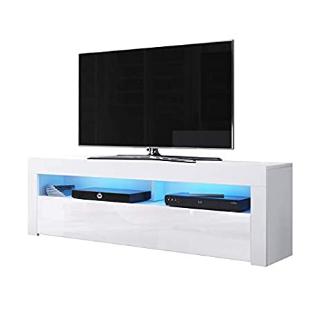Porta Tv Bianco Opaco.Alan Mobile Porta Tv Supporto Tv Mobile Tv Audio E Video 160 Cm Bianco Opaco Pannelli Frontali Bianco Lucido Con Luci Led Blu Opzionali