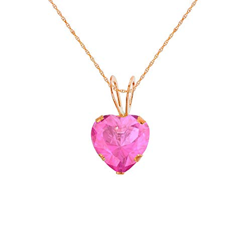 Genuine 10K Solid Rose Gold 6x6mm Heart Created Pink Sapphire 18