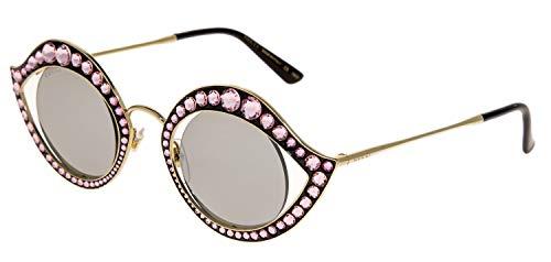 e8e36d4475e GUCCI CRYSTAL LIPS Stud 0046 Gold Pink Silver Mirrored Metal Sunglasses  GG4287S
