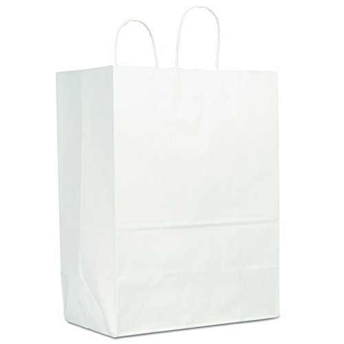Duro WSHP13717C 13'' Width x 7'' Gusset x 17'' Height, White Sup-R-Mart Shopping Bag (250 per Bundle) by Duro