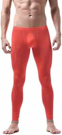 6885eccee66cf5 Thermal Underwear Men's Long Johns Bottom Thermo Elastic Silky Translucent  Sleepwear Leggings Solid Home Pants