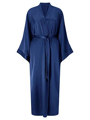 SIORO Womens Silk Robes Satin Lightweight Bathrobe Kimono Long Bath Robes for Bride Bridesmaid