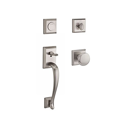 - Baldwin FDNAPXROUTSR150 Reserve Full Dummy Handleset Napa x Round with Traditional Square Rose in Satin Nickel Finish