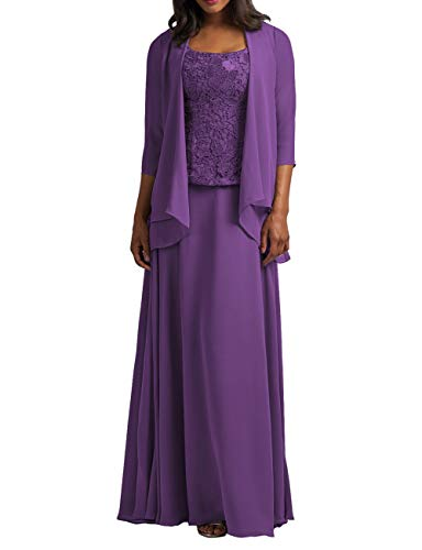Cdress Chiffon Mother of The Bride Dresses with Jacket Long Evening Formal Gowns Plus Size Lace Prom Dress Purple US 26W
