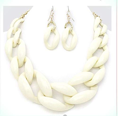 Acrylic Ivory White Big Curb Link Chain Chunky Necklace Set Earring for Women