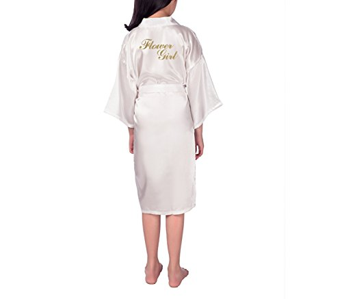 SexyTown Flower Girl Robes Satin Nightgown Wedding Party Getting Ready Robe with Gold Glitter 12 White for $<!--$11.99-->