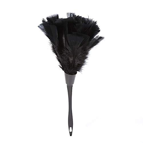 Cleaning Duster-Soft Turkey Feather Duster Brush With Black Handle Home Furniture Car Cleaning Tools (Black)