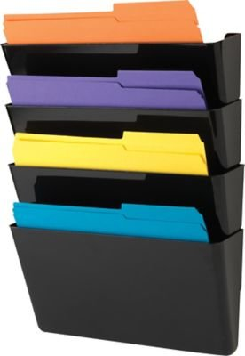 staples expandable wall pocket lettersize black 4 pockets