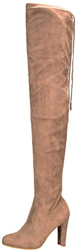 (Nature Breeze Women Faux Suede Thigh High Drawstring Cupped Heel Boot FH66 - Taupe (Size: 10))