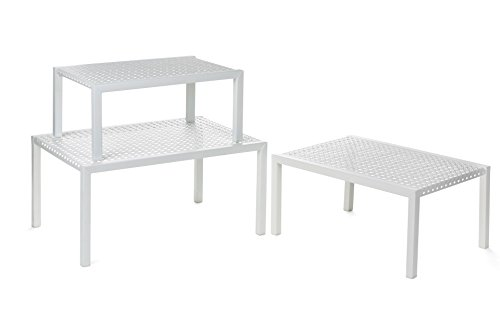 Heim Concept 3 Piece Nesting Counter Top Cabinet Counter Shelf Organizer Nesting Tables, Extendable & Stackable, White - 3 Shelf Set Cabinet