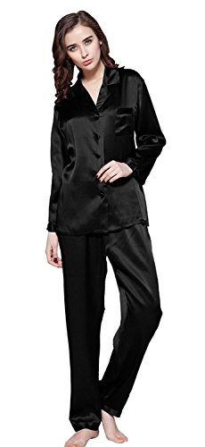 05 Mulberry - LilySilk Silk Pajamas for Women Pure Full Length Long 22 Momme 100% Mulberry Silk Luxury (Black, 12/Large)