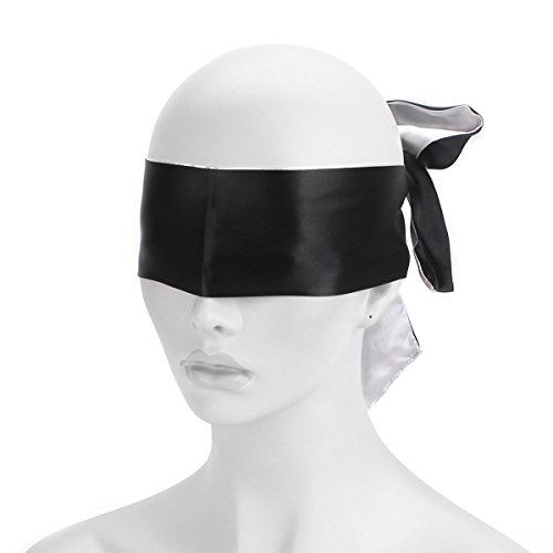 AKStore Satin Blindfold Soft Eye Mask Band Blinder Comfortable Sleep Masks(Black-White)