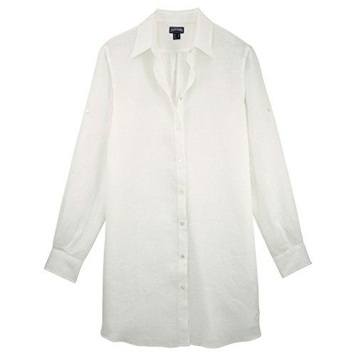 040c29727ae8 Uni Lin Vilebrequin Chemise Longue Blanc Femme qTUPU6B