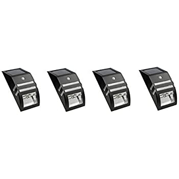 4 Pack Solar Powered Led Accent Security Light Black