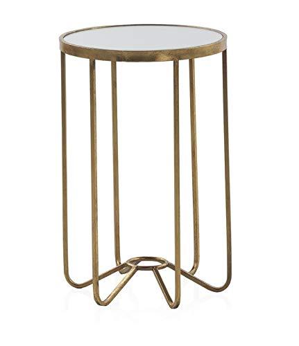 GEESE - Mesita Auxiliar de Apoyo con Estructura metalica en Color Oro Viejo - Medidas 39 cm de diametro y 60 cm de Alt