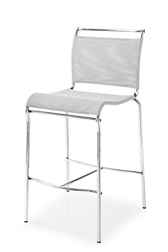 Calligaris Italian Furniture - Connubia Air Stool - Stained Satin Finish Steel Frame - Synthetic Fabric Net Seat - Grey