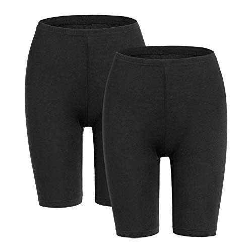 MANCYFIT Slip Shorts for Women Short Leggings Mid Thigh Legging Plus Size Undershorts Flat Black 2 Pack Medium