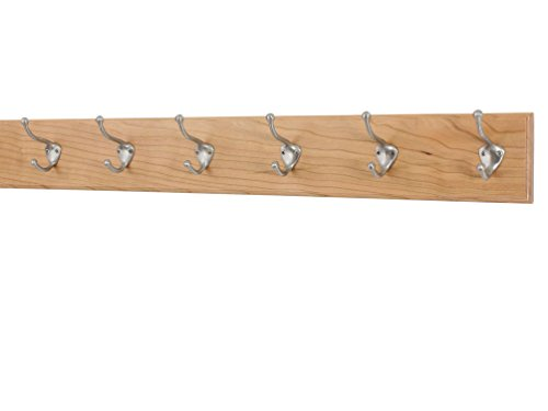 Solid Cherry Wall Mounted Coat Rack with Satin Nickle Hat &Coat Style Coat Hooks 4.5'' Ultra Wide - Made in the USA (Natural, 4.5'' x 30.5'' with 6 hooks) by PegandRail