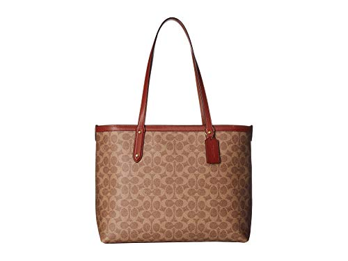 - COACH Women's Coated Canvas Signature Central Tote with Zip Tan/Rust/Brass One Size