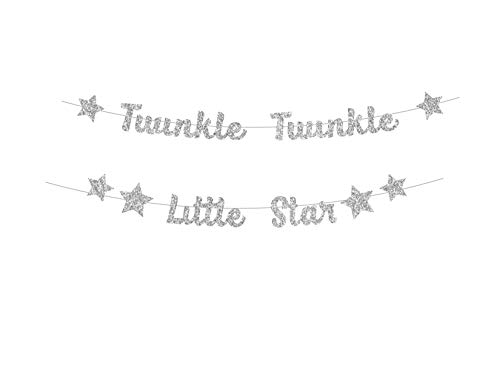 Twinkle Twinkle Little Star Banner in Silver Glitter (DIY) Do It Yourself by PinkFish Shop for Baby Shower or Birthday Party Gender Reveal Sprinkle