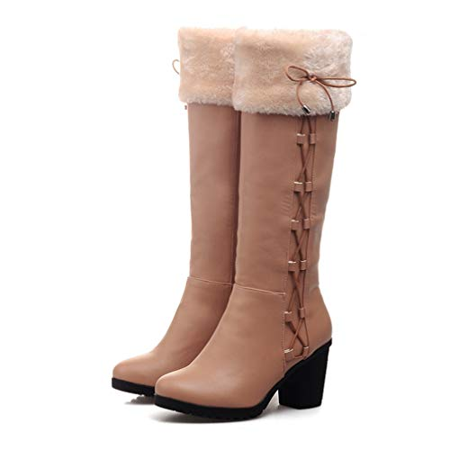 T-JULY Women's Winter Add Fur Knee-high Large Size Boots Female High Heel Black Shoes Riding Snow Boots]()
