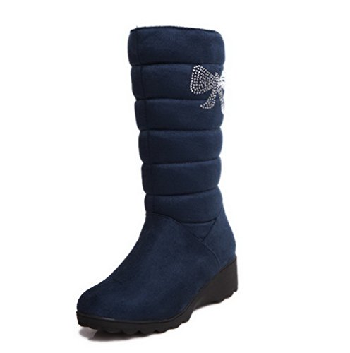 Women's Solid on Blue AgooLar Low top Boots Imitated Pull Heels Mid Suede d6xwnqgw0