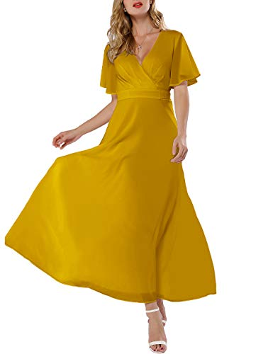 Azalosie Women Wrap Maxi Dress Short Sleeve Empire Waist Flowy Dress Wedding Formal Party Prom Evening Gown Long Dress
